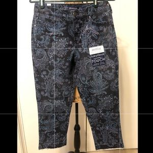 Paisley cropped curvy extreme stretch jeans